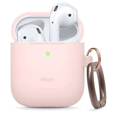 elago Silikonhülle mit Karabiner Kompatibel mit Apple AirPods 1 & 2 (LED an der Frontseite Sichtbar) - [Unterstützt kabelloses Laden] [Stoßfeste Schutzhülle] - Rosa