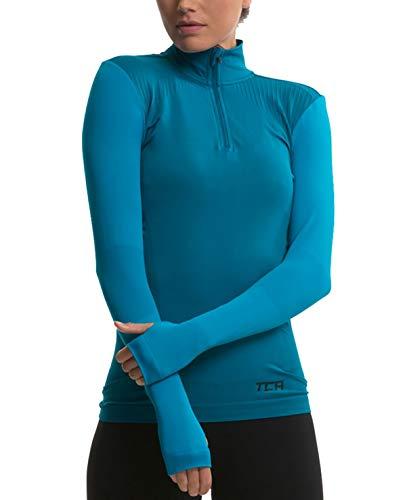 TCA Legend SuperKnit Half Zip Damen Laufshirt/Funktionsshirt mit Kragen - Langarm - Himmelblau, M