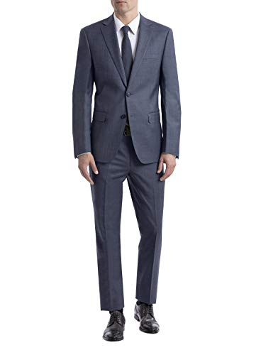 Calvin Klein Men's Slim Fit Suit Separates, Medium Blue Sharkskin, 44 Long