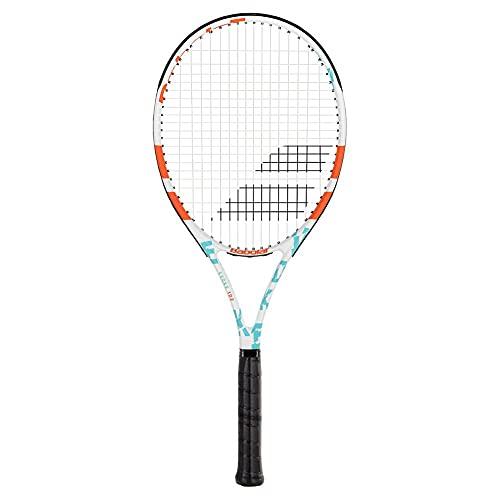 "Babolat Evoke 102 - Raqueta de tenis para mujer, color azul/blanco/naranja (agarre de 4 1/8"")"