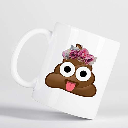 Taza de té con diseño de caca de emoji, taza de té, taza de café con estampado de caca y caca de emoticono, taza de grosero con corona de flores y flores Emoji M1161