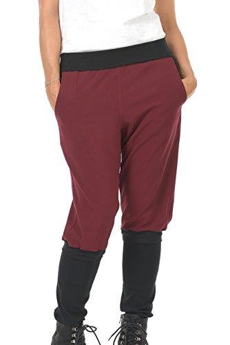 3Elfen Boyfriend-Hose Damen Bordeaux/Designer Frauen Baggy-Hose mit abnehmbaren Beinen, 36, Handmade