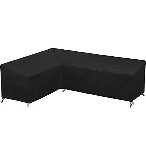 Garden Corner Furniture Covers 210d Heavy Duty Oxford Fabric Windproof Waterproof, Outdoor Patio L Shape Sofa Dust Cover,200x270x90cm(79 * 106 * 35in)