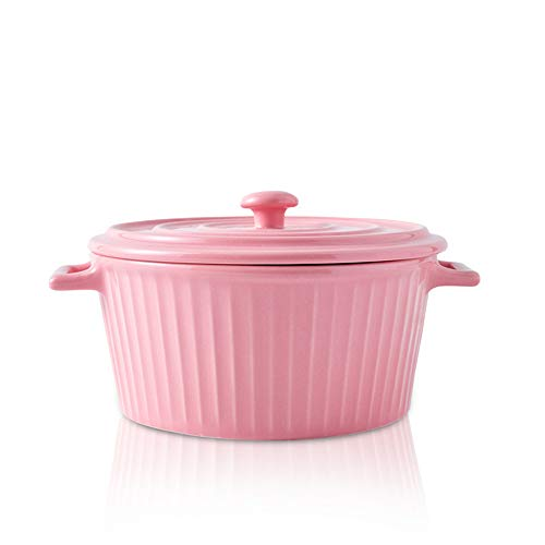 Jomop Casserole Dish with Lid 1.1 Quart Ceramic Casserole Pan for Bakeware Oven Colorful (1, Pink)