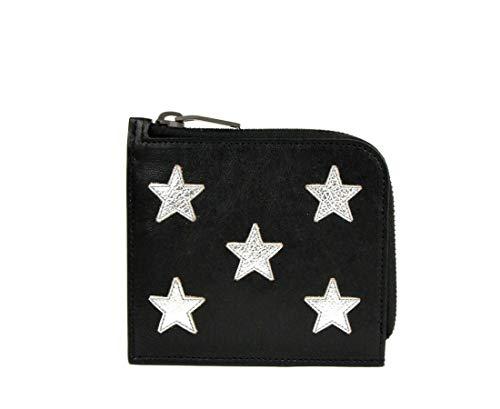 Saint Laurent Men's Black Leather Zip Around Wallet With Silver Stars 417797 1054