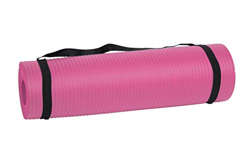 Mind Reader NBRMAT-PNK All Purpose 1/2 Extra Thick Yoga Fitness & Exercise Mats with Carrying Strap, High Density Anti-Tear, Pink