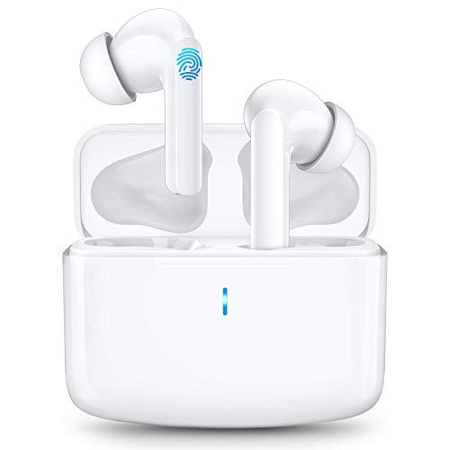 Cuffie Bluetooth Senza Fili Bassi Potenziati Auricolari Bluetooth con Ricarica Rapida USB-C, IPX6 Impermeabili, Durata 40 Ore, Cuffie Wireless per Samsung iPhone Huawei