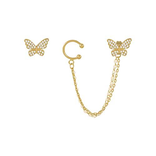 XXXXW Pendientes Creativity Pendientes de Clip de la Mariposa de la Mariposa del zircón Elegante romántico para Mujer Pendientes asimétricos de Fiesta de joyería de Moda Lindos Aretes