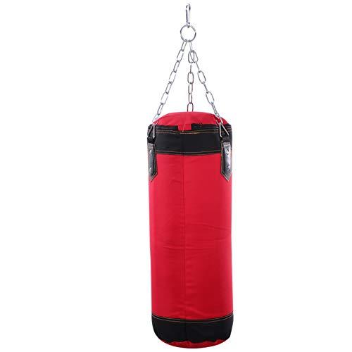 FAVOMOTO Hängender Boxsack Leer Leder Fitness Training Sandsack Verschleißfest Muay Thai Boxing Zieltasche ohne Füllstoff für Workout MMA Kick 60Cm (Rot)
