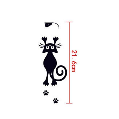 Guangcailun Cat Schalter Aufkleber Schwarze Katzen-Wand-Aufkleber entfernbare PVC-Maus-Schalter-Wand-Dekor-Schlafzimmer Wohnzimmer