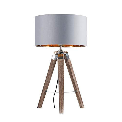 Modern Light Wood & Chrome Tripod Table Lamp with a Warm Grey/Gold Drum Shade
