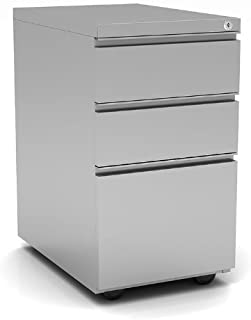 OfficeSource - 3 Drawer Locking Metal Pedestal Filing Cabinet, Silver, Anti-Tip, Adjustable Glides, Home or Office Underde...