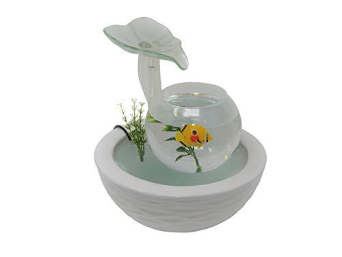 WeiVa Feng Shui Keramik Glas -Zimmerbrunnen mit LED Beleuchtung220F