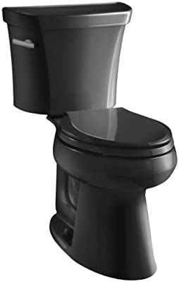 Highline Comfort Height Two-Piece Elongated 1.6 GPF Toilet with Class Five Flush Technology and Left-Hand Trip Lever, Black Black
