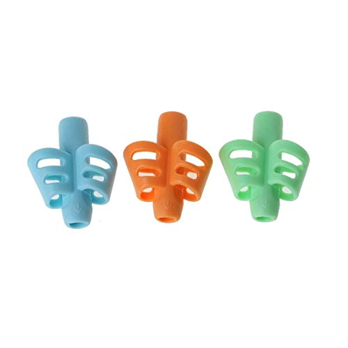 Syga 3 Pcs Two-Finger Pencil Grips for Kids Silicone Children Pencil Holder Handwriting Learn Writing Training Grip