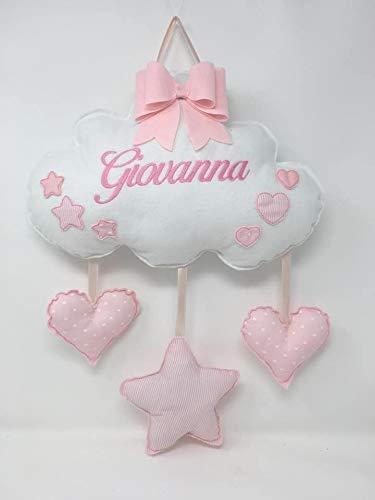 Fiocco nascita nuvola bimba bimbo bianco con cuori e stelle rosa da personalizzare. Coccarde per nascita con nome ricamato - Pri Frog Fatto a mano