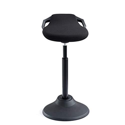 WYZQQ Stand-Up bureaustoel, in hoogte verstelbaar 360° draaiende actieve leerstoel, ergonomische balansstoel sportbankbalans, anti-slip bureaukruk - zwart