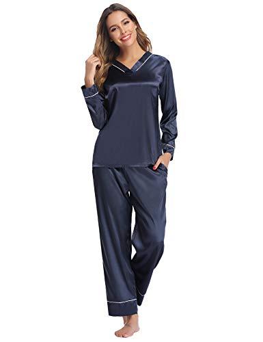 Hawiton Damen Schlafanzug Lang Satin Pyjama Nachtwäsche V Ausschnitt Dunkelblau S