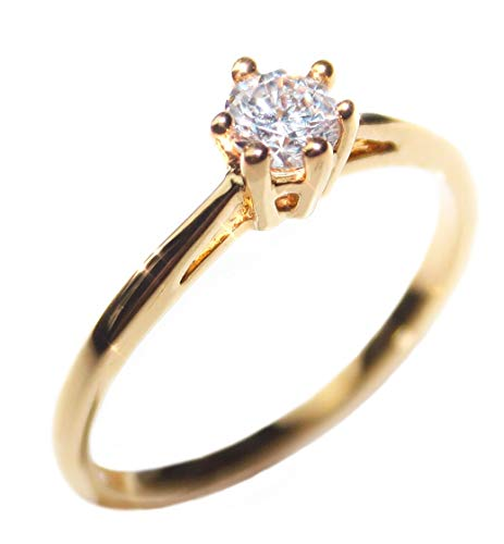 FREE ENGRAVING! Ah! Jewellery 0.62ct Ladies Genuine Gold Filled 4mm Simulated Diamond Solitaire Ring. UK Guarantee: 3µ / 10 years.