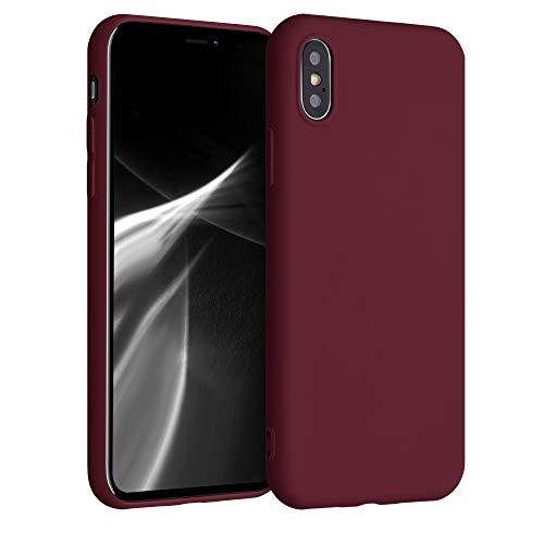 kwmobile Funda Compatible con Apple iPhone X - Carcasa de TPU Silicona - Protector Trasero en Rojo Vino