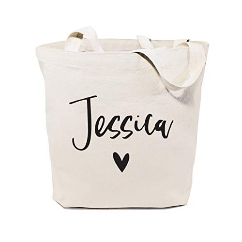 The Cotton & Canvas Co. Personalized Name Heart Beach, Shopping and Travel Resusable Shoulder Tote and Handbag