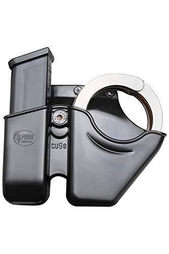 Fobus CU9GBH Cuff/Mag Combo Pouch for 9mm & .40 Double - Stack Magazine and and Smith & Chain Handcuffs (fits Glock and H&K USP), Right Hand Belt