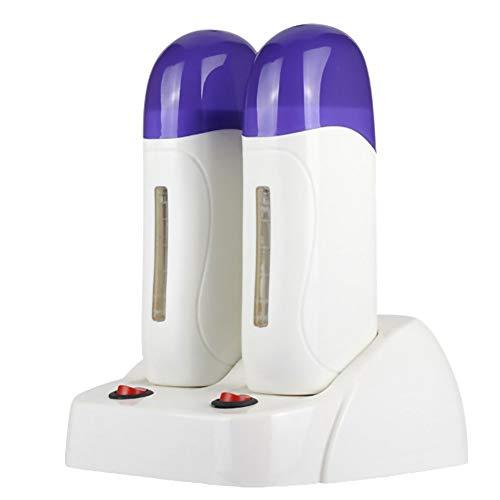 110V Double Depilatory Wax Warmer Waxing Kit for Women Men Coarse Hair Removal with Heater Base for Hair, Eyebrow, Facial, Armpit, Bikini, Brazilian