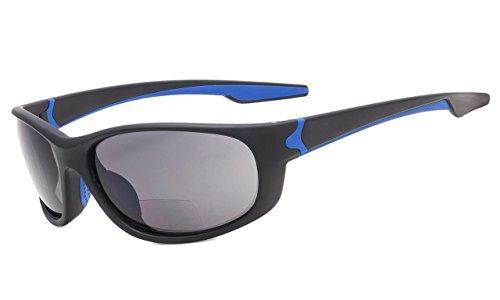 Eyekepper TR90 Unbreakable Sport Bifokale Sonnenbrille Baseball Laufen Angeln Fahren Golf Softball Wandern Matt Schwarz-Blau Rahmen Grau Linse +2.0