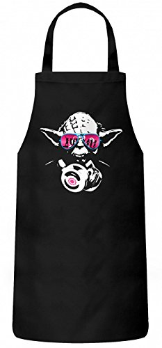 Shirt Happenz Joda #3 Schürze | Master Joda DJ | Meister Joda | Episode | Kochen & Backen | Grillschürze, Farbe:Schwarz (Black PW102);Größe:60cm x 87cm