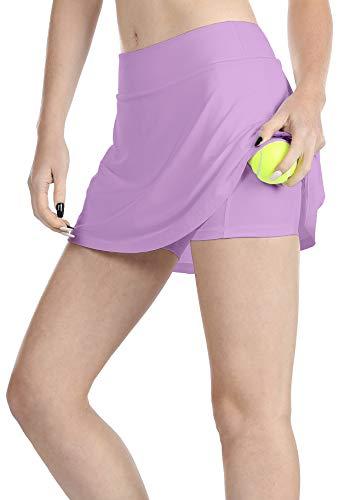 icyzone Damen Kurze Rock A-Linie Tennisrock Hohe Taille SportRöcke Golf Tennis Skort (M, Lila)