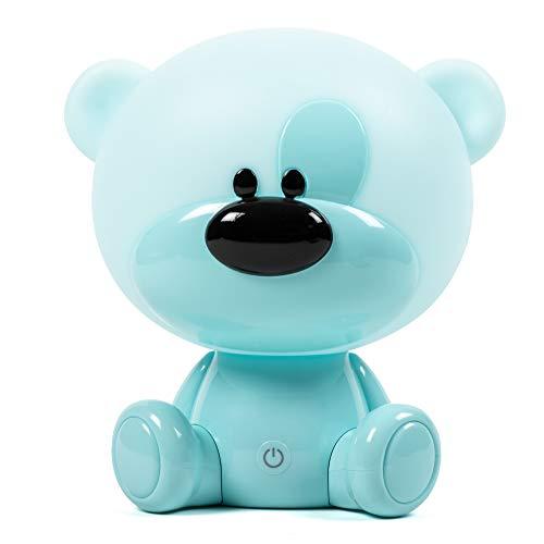 Lámpara mesilla niños y bebe. Luz nocturna tres intensidades, táctil, quitamiedos infantil para dormir. Cable USB. OSO PRIMOROSO AZUL. RUDACAS