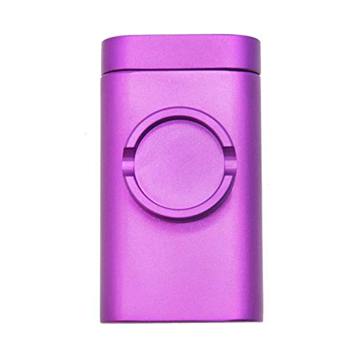 Imagen del producto babyzhang Aluminum Grind Case Pinch Hitter & Grinder Combo Tobacco Grinder Dugout Pipe Case with Storage Room Case Smoking Pipe All In One,Purple