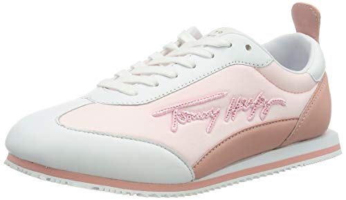 Tommy Hilfiger Signature Retro Runner, Zapatillas Mujer, Rosa Claro, 38 EU