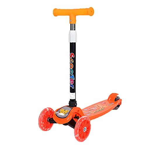 XJMPYGR Scooter Plegable, Scooter Infantil, Manillar Ajustable, Adecuado para niños y niñas de 1 a 10 años,Naranja,Ordinary Wheel
