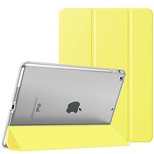 MoKo Funda para Nuevo iPad 8ª Gen 2020 / 7ª Generación 2019, iPad 10.2 Case, Ultra Delgado Función de Soporte Protectora Plegable Cubierta Inteligente Trasera Transparente, Amarillo Claro