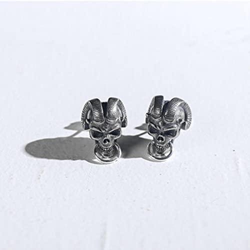 LCUK Pendientes de botón con Forma de Calavera y Demonio de Personalidad, Pendientes Vikingos Retro nórdicos, joyería de Motociclista Pirata para Hombres y Mujeres, Pendientes de Fiesta