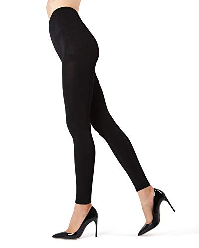 Memoi Winter Fleece Footless Tights | Women's Hosiery - Pantyhose Black MO 346 Small/Medium