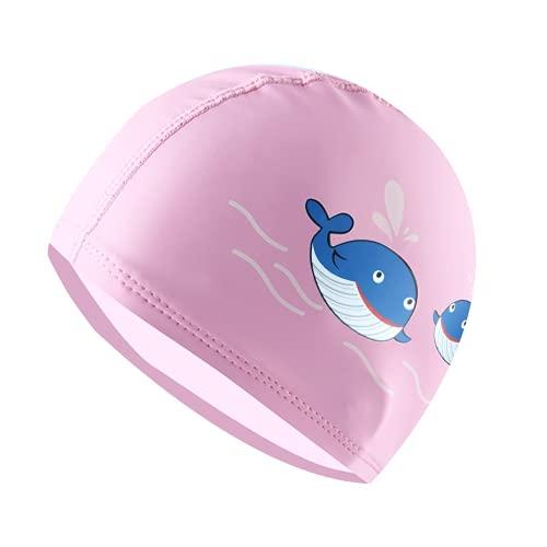 Gorro de natación para niños de 6 a 12 años, gorro de natación de poliuretano para niñas y niños, cómodo gorro de natación, gorros de natación para adolescentes (rosa)