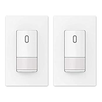 ELEGRP Occupancy Motion Sensor Light Switch PIR Infrared Motion Activated Wall Switch No Neutral Wire Required Single Pole for CFL/LED/Incandescent w/Wall Plate UL Listed 2 Pack White