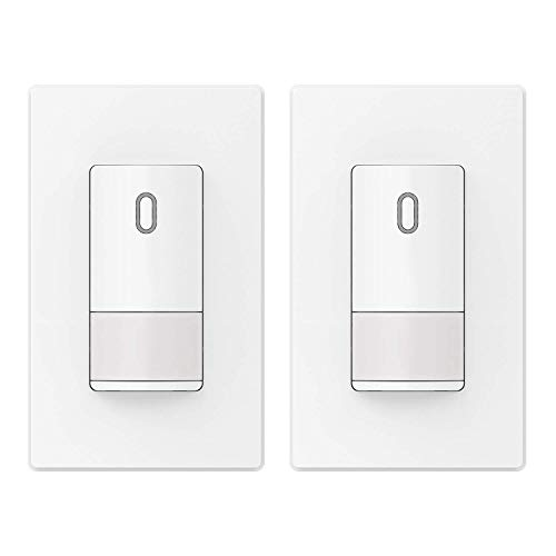 ELEGRP Occupancy Sensor Light Switch, PIR Infrared Motion Activated Wall Switch, No Neutral Wire Required, Single Pole for CFL/LED/Incandescent, Wall Plate Included, UL Listed (2 Pack, Matt White)