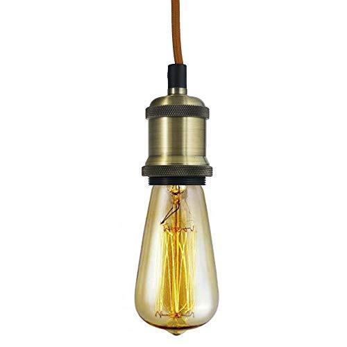 KRYSTAL Vintage Edison, E27, Bronze, Lampe Fassung, Zubehör, mit 2 Meter Textilkabel, Metall Pendelleuchte, Lampenfuß für Pendelleuchte.