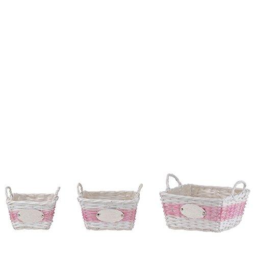 Homestyle & more Sweet Garden Lot de 3 paniers carrés en osier Blanc/rose