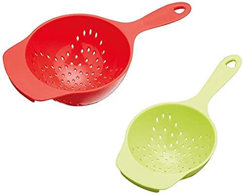 Juego de 2 cestas de plástico para la cocina, con asas adhesivas, color naranja y lima