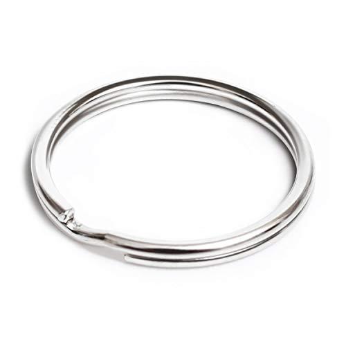 Lot de 100 anneaux fendus clés 25mm 1 pouce plaqué nickel en acier