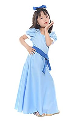 NSPSTT Girls Princess Dress Halloween Party Cosplay Wendy Dress Costume, Blue, 120