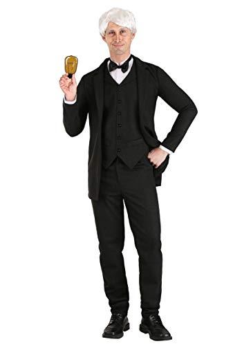 Thomas Edison - Disfraz grande para hombre, color negro