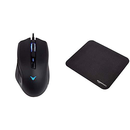 AmazonBasics - Gaming-Maus, Mehrfarbig, programmierbare Tasten, bis 3.200 DPI einstellbar & Gaming-Mauspad