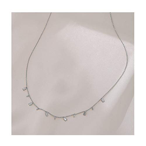 Zaza Womens Simple Delicate Full Pendent 18K Gold Plated/Silver Plated Layered Pendant Handmade Round/Rectangular/Drop-shaped Chokers Necklaces (Color : Silver, Size : Rectangular)
