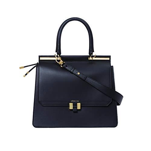 Marlene Laptop 13 Zoll | Handtasche | Damen | Schwarz/Dunkel Grau Gold | Umhängetasche | Leder | Schultertasche | Gepolstertes Laptopfach