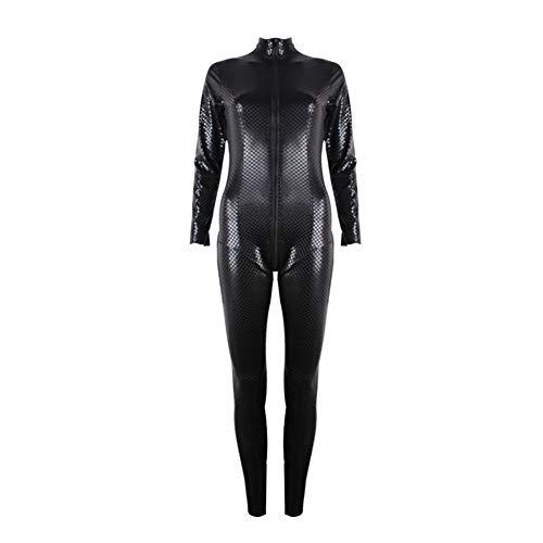 WWC Disfraces Sexy de látex - Mujeres Látex Negro de Cuero de imitación Entrepierna Abierta Cuerpo de PVC Catsuit de látex con Cremallera Lenceria Sexy